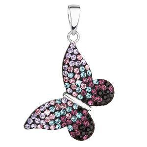 Evolution Group Stříbrný přívěsek s krystaly Swarovski mix barev motýl 34192.3 magic violet obraz