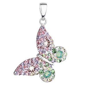 Evolution Group Stříbrný přívěsek s krystaly Swarovski mix barev motýl 34192.3 sakura obraz