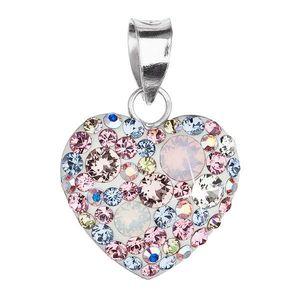 Evolution Group Stříbrný přívěsek s krystaly Swarovski mix barev růžový 34094.3 magic rose obraz