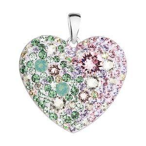 Evolution Group Stříbrný přívěsek s krystaly Swarovski mix barev srdce 34243.3 sakura obraz