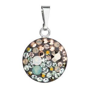 Evolution Group Stříbrný přívěsek s krystaly Swarovski mix barev kulatý 34225.4 chameleon obraz