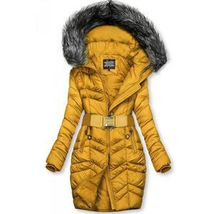 Hořčicově žlutá prodloužená bunda s páskem obraz