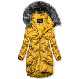 Mustard lesklá prošívaná bunda na zimu obraz