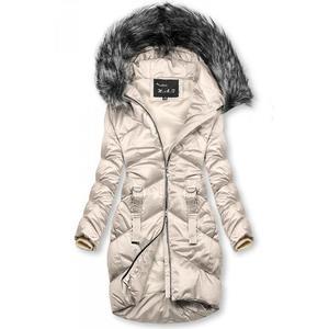 Krémová lesklá prošívaná bunda na zimu obraz