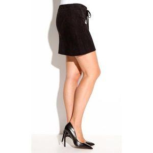 Ultra krátká sukně z imitace semiše černá 42 obraz