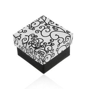 Černobílá krabička na náušnice, přívěsek nebo prsten, vzor se spirálami obraz
