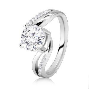 Stříbrný 925 prsten - mohutný kulatý broušený zirkon, rozdvojená ramena - Velikost: 57 obraz