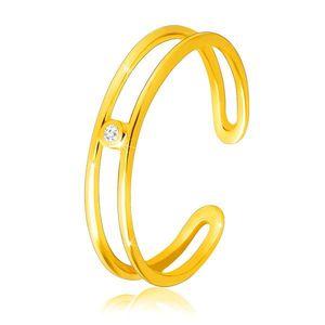 Diamantový prsten ze žlutého 14K zlata - tenká otevřená ramena, čirý briliant - Velikost: 58 obraz
