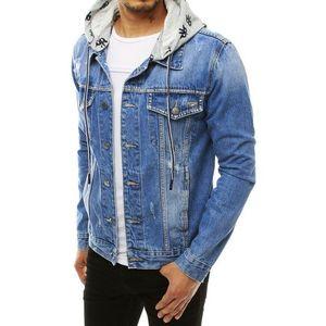 Riflová modrá bunda s kapucí obraz