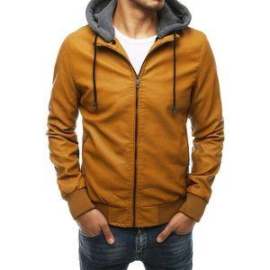 Kamelová koženková bunda s praktickou kapucňou obraz