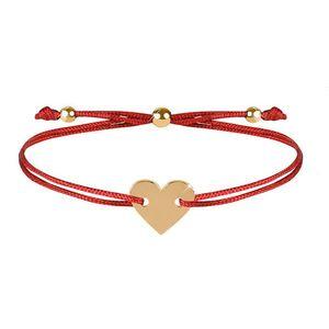 Troli Šňůrkový náramek se srdcem červená/zlatá TO2506 obraz