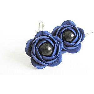 Troli Modré visací náušnice s černou perličkou Estrela kytičky obraz