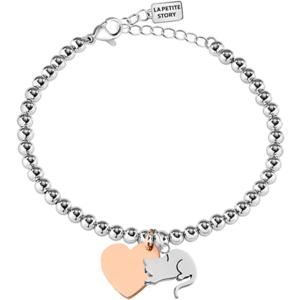 La Petite Story Bicolor ocelový náramek Kočka a Srdce LPS05AQI07 obraz