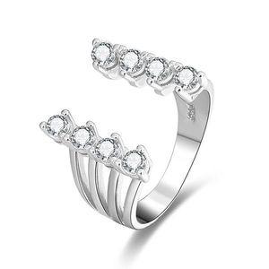 Beneto Stříbrný otevřený prsten se zirkony AGG334 52 mm obraz