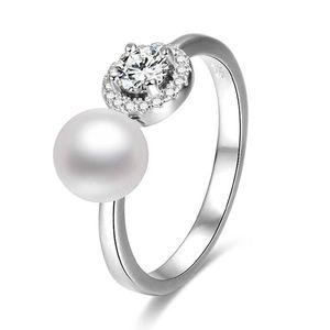 Beneto Otevřený stříbrný prsten se zirkony a perlou AGG339 S (52 - 55 mm) obraz