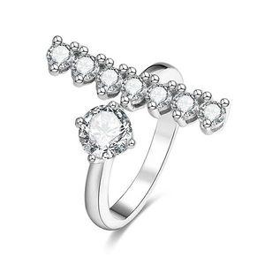 Beneto Stříbrný otevřený prsten se zirkony AGG343 52 mm obraz