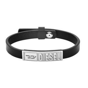 Diesel Černý kožený náramek DX1226040 obraz