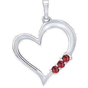 Silvego Stříbrný přívěsek Srdce s červenými krystaly Swarovski SILVEGO11580R obraz