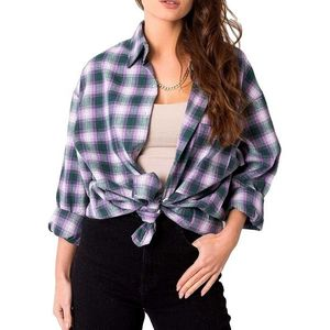 Fialová károvaná dámská košile obraz