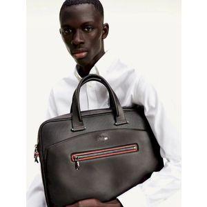 Tommy Hilfiger pánská černá kožená taška na notebook Mercedes Benz obraz