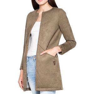 Podzimní kabátek bez zapínání vt040 olive green obraz