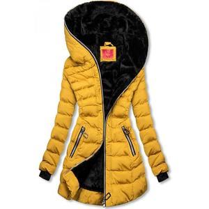Zimní prošívaná bunda s kapucí žlutá obraz