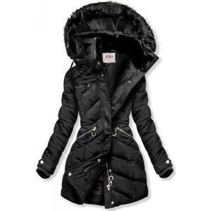 Černá zimní bunda s teplým plyšovým límcem obraz