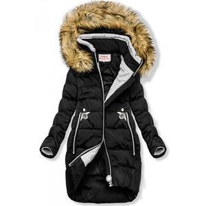 Černá prodloužená bunda s kapucí obraz