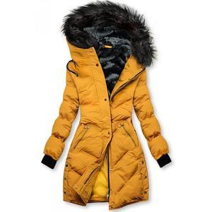 Žlutá prošívaná zimní bunda obraz