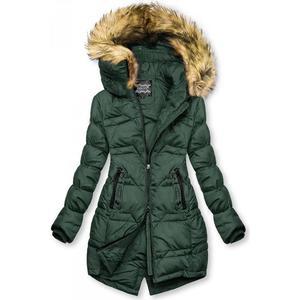 Tmavě zelená prošívaná bunda na podzim/zimu obraz