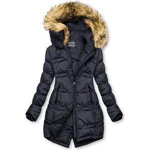 Tmavě modrá prošívaná bunda na podzim/zimu obraz