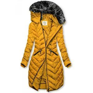 Hořčicově žlutá dlouhá prošívaná bunda obraz
