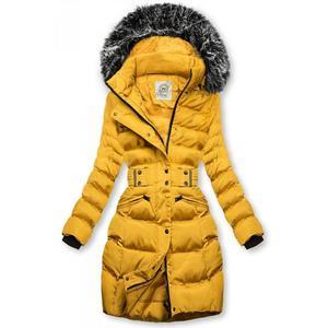 Hořčicově žlutá bunda s odepínatelnou kapucí obraz