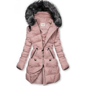 Růžová prošívaná bunda s kapucí obraz
