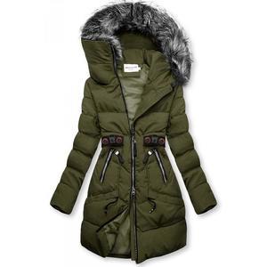 Khaki zimní bunda s černými detaily obraz