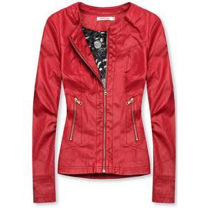 Červená koženková bunda se vzorovanou podšívkou obraz