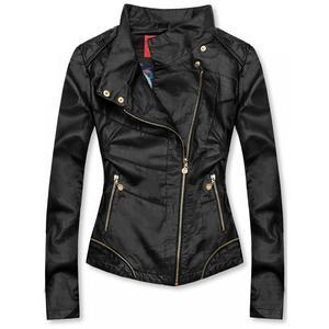 Černá krátká koženková bunda obraz