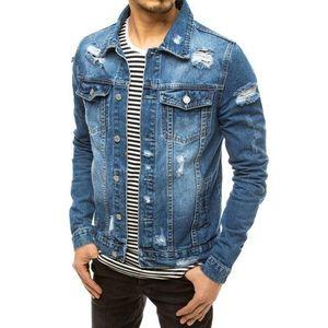 Trendová nebesky modrá džínová bunda obraz