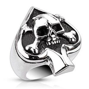 Prsten z oceli s karetním symbolem a lebkou - Velikost: 61 obraz