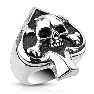 Prsten z oceli s karetním symbolem a lebkou - Velikost: 64 obraz