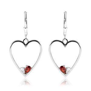 Náušnice ze stříbra 925, symetrický obrys srdce, červený a čirý zirkon obraz