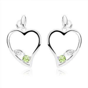 Stříbrné náušnice 925, obrys asymetrického srdce, čirý a zelený zirkon obraz