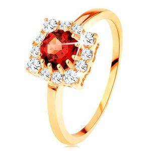 Zlatý prsten 585 - čtvercový zirkonový obrys, kulatý červený granát - Velikost: 61 obraz