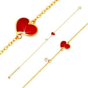 Náramek ve žlutém 14K zlatě - červené asymetrické srdce a čirý zirkonek, tenký řetízek obraz