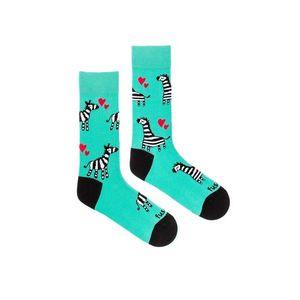 Tyrkysové vzorované ponožky Zebra obraz