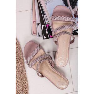 Světle růžové semišové pantofle s kamínky 2-27120 obraz
