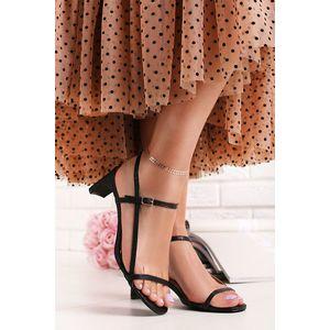 Černé sandály na nízkém podpatku Ella obraz