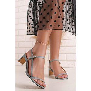 Světle modré sandály na nízkém podpatku Ella obraz