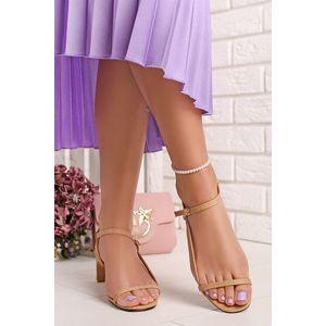 Skořicové sandály na nízkém podpatku Ella obraz