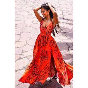 Oranžové vzorované dlouhé šaty Nina obraz